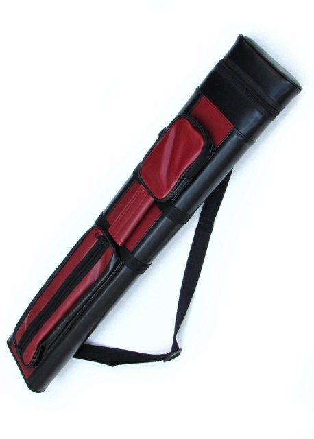 2X2 Hard Pool Cue Stick Carrying Case 2 x 2 Red - Black