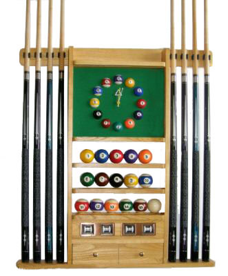 8 Pool - Billiard Cue Rack With Clock Oak Finish