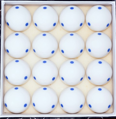 Box of 16 - 6 Blue Dot - Spot Measle Pool - Billiard Training Cue Ball