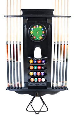 Cue Rack Only - 10 Pool - Billiard Stick & Balll Wall Stand W/ Clock Black Finish