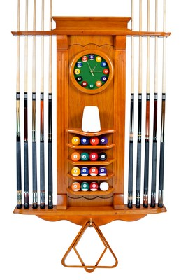 Cue Rack Only - 10 Pool - Billiard Stick & Balll Wall Stand W/ Clock Dark Oak Finish