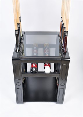 Pool Cue Rack Only - 10 Billiard Stick & Ball Set Floor Holder - Stand Black Finish