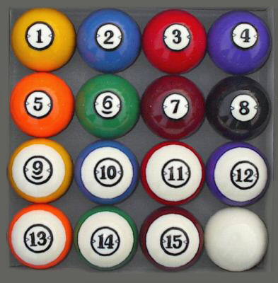 Classic Style Pool Table Billiard Ball Set