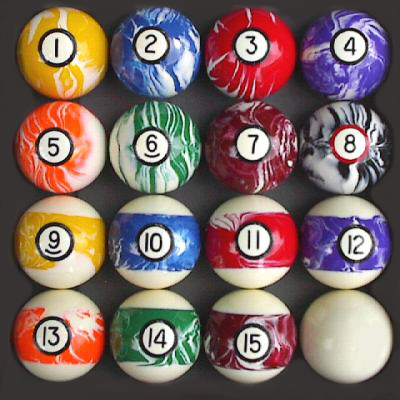 Marble / Swirl Style Pool - Billiard Ball Set