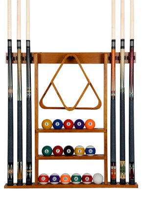 Cue Rack Only - 6 Pool - Billiard Stick + Ball Set Wall Rack Holder Oak Finish