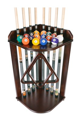 Cue Rack Only 8 Pool - Billiard Cue & Ball Floor Corner Rack Mahogany  Finish