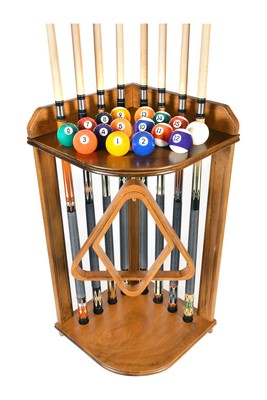 Pool Cue Rack Only - Billiard Stick Stand Holds 8 Cues And Ball Set Oak Finish