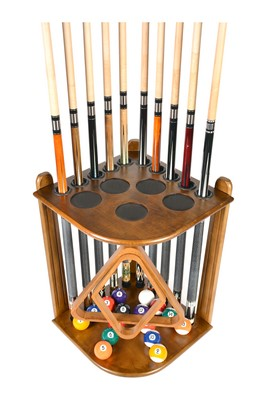 Cue Rack Only - 10  Pool - Billiard Stick & Ball Floor Rack - Holder Oak Finish