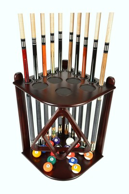 Cue Rack Only - 10  Pool - Billiard Stick & Ball Floor Stand - Holder Mahogany Finish