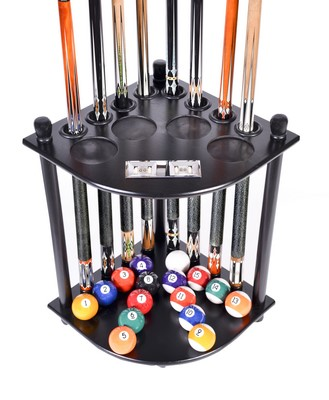 Cue Rack Only 8 Pool Cue - Billiard Stick & Ball Floor Rack W/ Score Counters Black Finish
