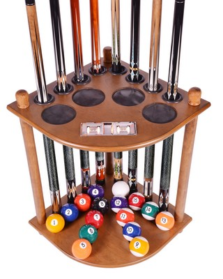 Cue Rack Only 8 Pool Cue Billiard Stick and Ball Floor Rack W/ Score Counters Oak Finish