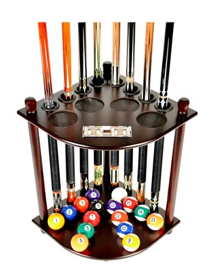 Cue Rack Only 8 Pool Cue - Billiard Stick & Ball Floor Rack W/ Score Counters Mahogany Finish