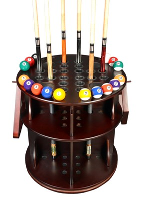Cue Rack Only - Revolving 20 Pool Cue - Billiard Stick & Ball Floor Stand Mahogany Finish