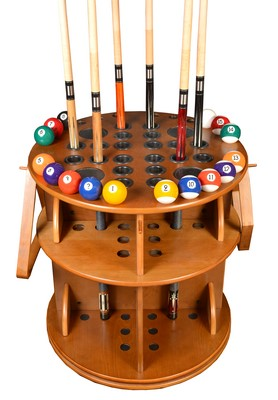 Cue Rack Only - Revolving 20 Pool Cue - Billiard Stick & Ball Floor Stand Oak Finish