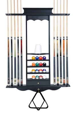 Cue Rack Only- 10 Pool - Billiard Stick & Ball Set Wall Rack Black Finish