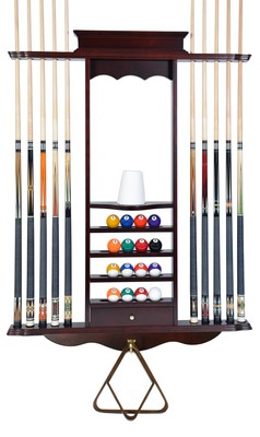 Cue Rack Only- 10 Pool - Billiard Stick & Ball Set Wall Rack Mahohany Finish