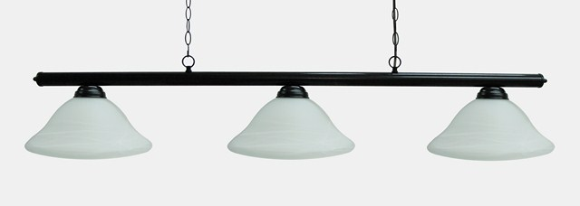 "59"" Black Metal Pool Table Light Billiard lamp W White Glass Shades"
