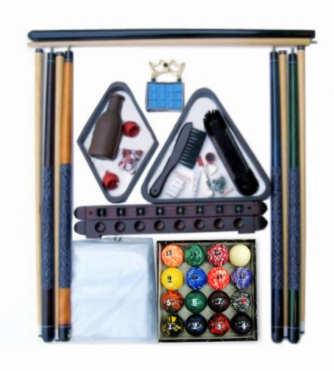 Pool Table Accessory Kit with Art # Marble Style Balls Mahogany Finish