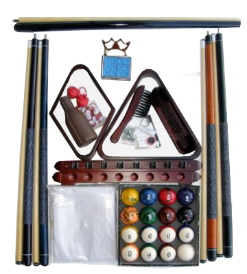 Billiard Pool Table Accessory Kit With Tech Style Ball Set Mahogany Finish