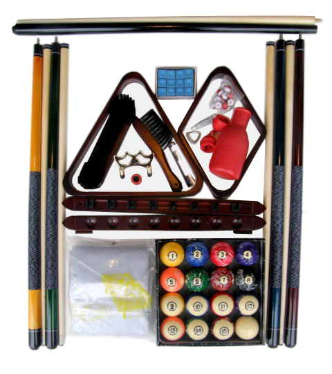 Pool Table Accessory Kit W Classic Style Marble Balls Mahogany Finish
