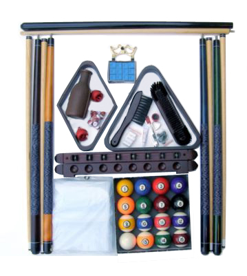 Pool Table Accessory Kit with Antique Style Balls Mahogany Finish