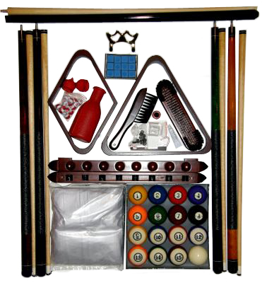 Pool Table Accessory Kit W Classic Style Balls Mahogany Finish