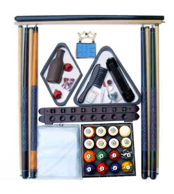 Billiard Pool Table Accessory Kit With Dark Classic Marble Style Ball Set Mahogany Finish