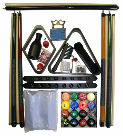 Pool Table Accessory Kit with Art # Marble Style Balls Black Finish