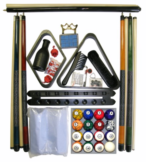 Billiard Pool Table Accessory Kit With Dark Classic Marble Ball Set Black Finish