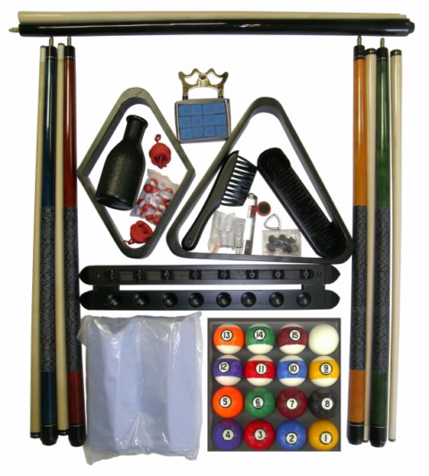 Pool Table Accessory Kit with Antique Style Balls Black Finish