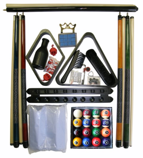 Billiard Pool Table Accessory Kit with Modern Style Balls Black Finish