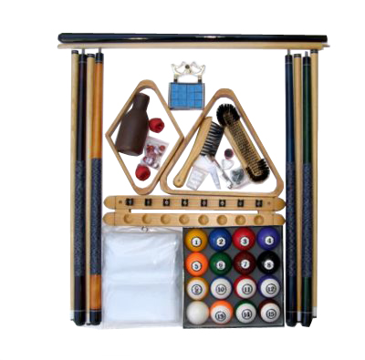 Pool Table Accessory Kit W Classic Style Balls Oak Finish