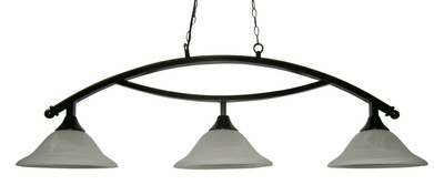 "50"" Arch Style Black Metal Pool Table Light Billiard lamp W White Glass Shades"