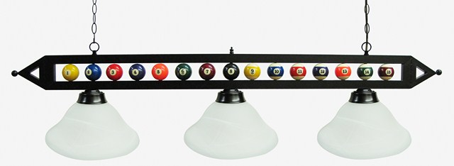 "59"" Black Metal Ball Design Pool Table Light Billiard lamp W White Glass Shades"