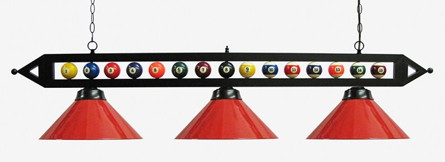 "59"" Black Metal Ball Design Pool Table Light Billiard lamp W Red Metal Shades"