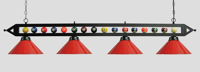 "72"" Black Metal Ball Design Pool Table Light Billiard lamp W Red Metal Shades"