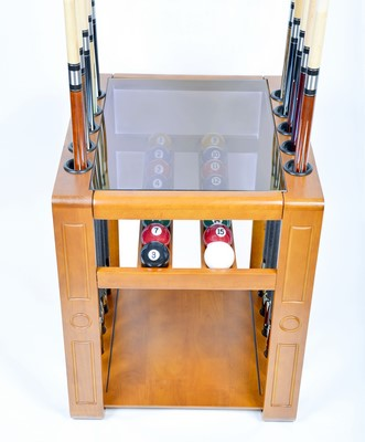 Pool Cue Rack Only - 10 Billiard Stick & Ball Set Floor Holder - Stand Dark Oak Finish