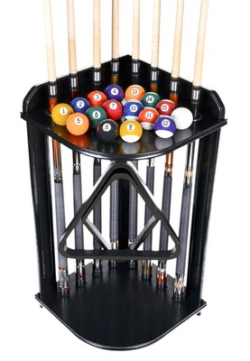 Pool Cue Rack Only - Billiard Stick Stand Holds 8 Cues And Ball Set Black Finish