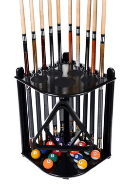 Cue Rack Only - 10  Pool - Billiard Stick & Ball Floor Stand - Holder Black Finish