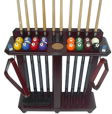 10 Pool Cue and Ball Floor Rack Mahogany Finish