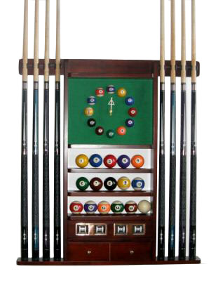 8 Pool - Billiard Cue Rack With Clock Mahogany Finish