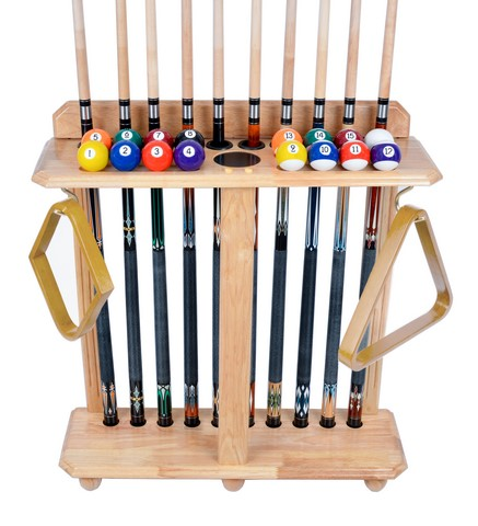Cue Rack Only- 10 Pool - Billiard Stick & Ball Set Floor - Stand Natural Finish