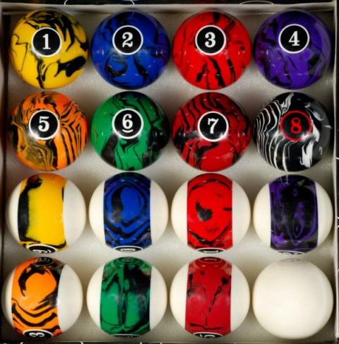 Dark Colored Marble Swirl Style Pool Table Ball Set