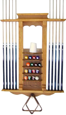 Cue Rack Only- 10 Pool - Billiard Stick & Ball Wall Rack Oak Finish Made of Wood