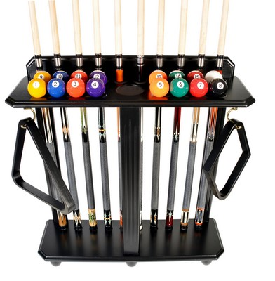 Cue Rack Only- 10 Pool - Billiard Stick & Ball Set Floor - Stand Black Finish