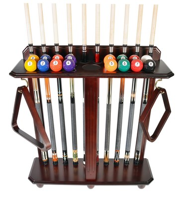 Cue Rack Only- 10 Pool - Billiard Stick & Ball Set Floor - Stand Mahogany Finish