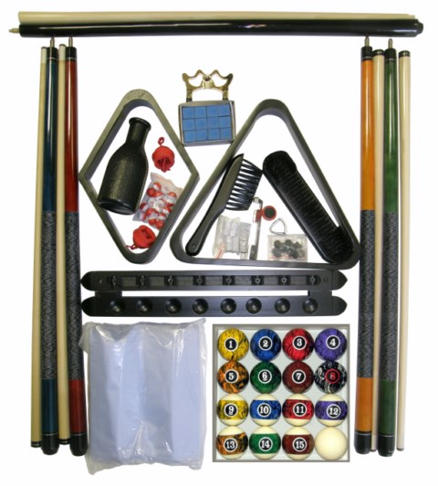 Billiard - Pool Table Accessory Kit W/ Dark Marble  Ball Set Black Finish