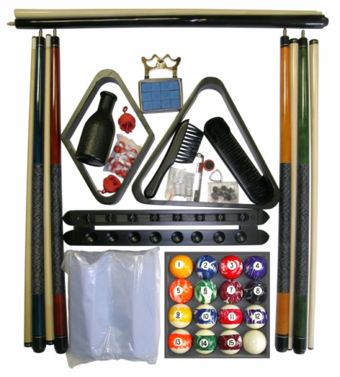 Billiard - Pool Table Accessory Kit W Swirl - Marble Style Ball Set Black Finish
