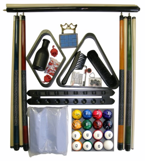 Billiard - Pool Table Accessory Kit W Tech Style Ball Set Black Finish