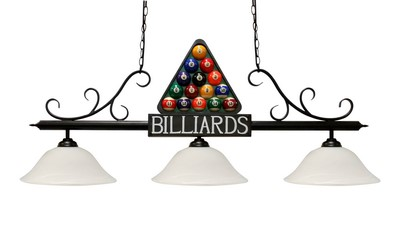 "51"" Black Metal Billiard Style Pool Table Light - Lamp With White Glass Shades"